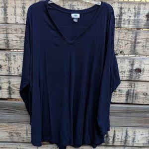 Old Navy Blue Long Sleeved V-Neck Shirt Size 4X